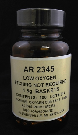 Alpha Resources Africa Product AR2345 in Nickel Capsules/Baskets under Sample Containment.