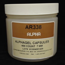Alpha Resources Africa Product AR338 in Gel Capsules under Sample Containment.