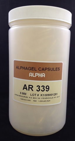 Alpha Resources Africa Product AR339 in Gel Capsules under Sample Containment.